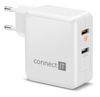 CONNECT IT QUICK CHARGE 3.0 nabíjecí adaptér 2x USB (3,4A), QC 3.0, bílý