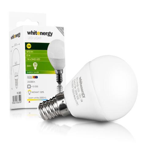 WHITENERGY LED žárovka, 14xSMD2835, B45, E14, 5W, bílá mléčná 09909