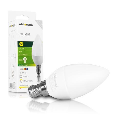 WHITENERGY LED žárovka, 3xSMD2835, C30, E14, 3W, bílá mléčná 09903
