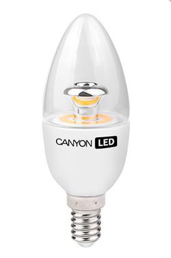 Fotografie CANYON LED COB žárovka , E14 ,svíčka, průhledná,6W,470 lm,teplá bílá 2700K,230V