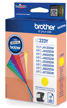 Fotografie BROTHER LC-223Y (inkoust yellow, 600 str.@ 5% draft)