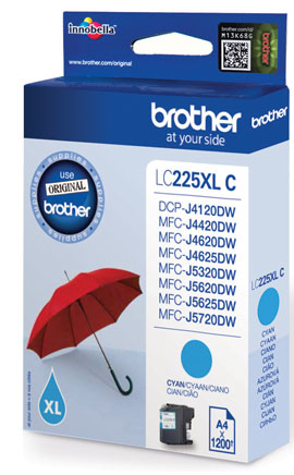 Fotografie BROTHER LC-225XLC (inkoust cyan, 1 200 str.@ 5% draft)