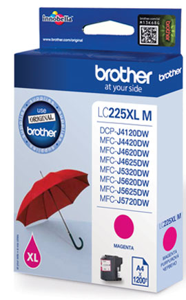 Fotografie BROTHER LC-225XLM (inkoust magenta, 1 200 str.@ 5% draft)