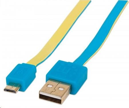 MANHATTAN Kabel FLAT USB 2.0 A-Micro B propojovací 1m modrá/žlutá