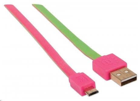 MANHATTAN Kabel FLAT USB 2.0 A-Micro B propojovací 1m pink/green