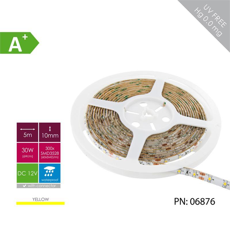 Fotografie WHITENERGY LED pásek voděodolná 5m barva světla žlutá LED 60ks/m 6W/m 12V, 06876