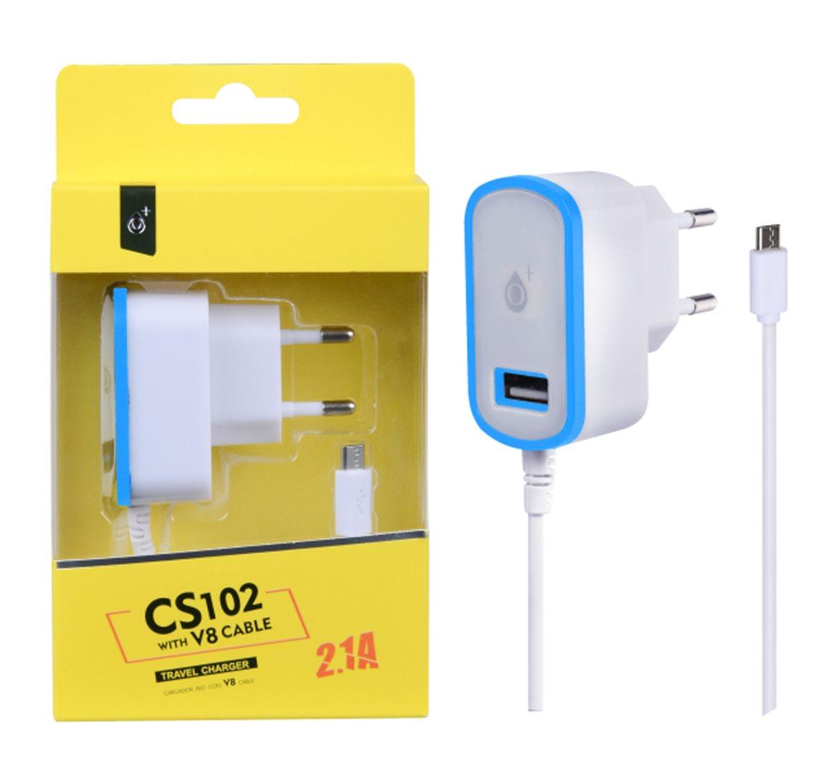 Aligator síťová nabíječka PLUS , integrovaný MicroUSB kab.+ USB výstup 5V/2,1A,